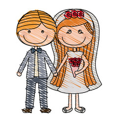 color pencil drawing of caricature couple in vector image vector image