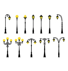 Decorative stylized streetlights silhouettes vector image
