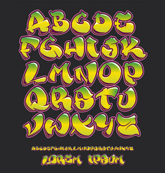 graffiti alphabet- hand written - font vector image