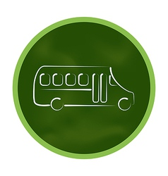 Green icon stylized chalkboard with school bus vector image