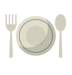 plate spoon fork utensils vector image