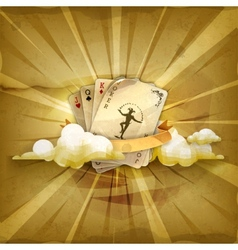 Playing cards with a joker old style background vector image
