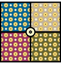 Seamless patterns with flowers vector image