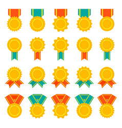 set of medals badges or awards with ribbons flat vector image vector image