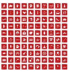 100 joy icons set grunge red vector