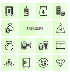 14 treasure icons vector image