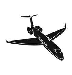 Airplane icon in black style isolated on white vector image