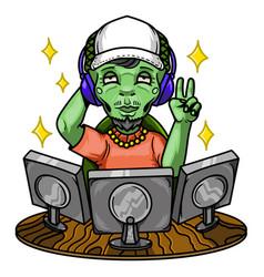 alien gamer vector image
