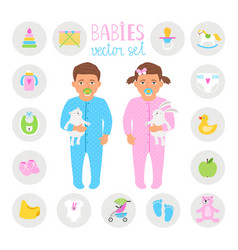 Baby boy and girl set vector