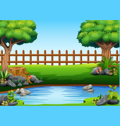 beautiful park view with a pond vector image
