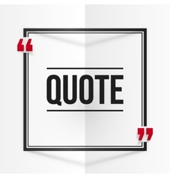 Black and red square quote frame at white folded vector image