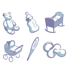 blue childrens icons vector image