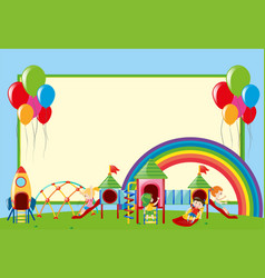 Border template with kids at playground vector