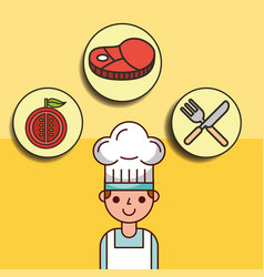 boy chef cartoon with meat tomato and fork knife vector image