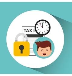 Business man secure money tax clock vector