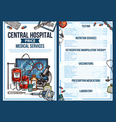 Central medical hospital sketch price list vector