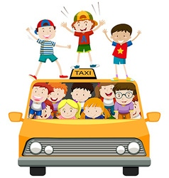 Children riding on taxi vector image