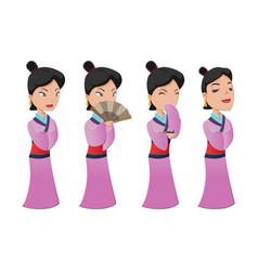 China woman people character set vector
