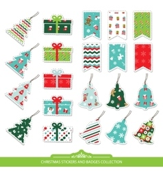 Christmas stickers and labels set vector