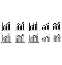 collection graph diagram up icon line art vector image