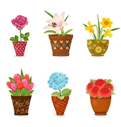 collection of colorful flowers planted in art vector image