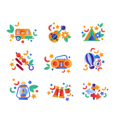 collection of travel and camping equipment vector image