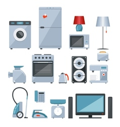 Colored icons of home appliances vector