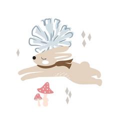 Cute running bunny in woods vector