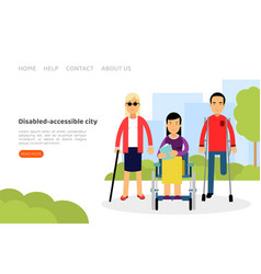 Disabled people characters living in accessible vector