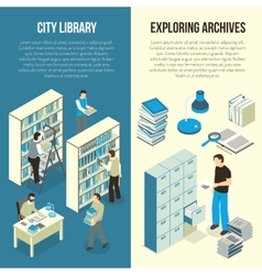 Documents archive library isometric vertical vector