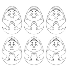 Doll matreshka contours set vector