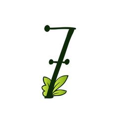 doodling eco alphabet number seventype vector image