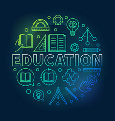 education round colorful in vector image