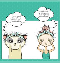 Facial treatment girl and panda masking vector