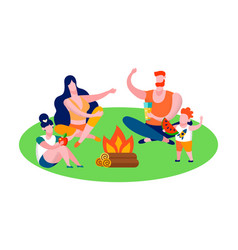 family camping in forest and travel flat banner vector image