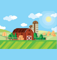 Farm barn and grain storage on agricultural field vector