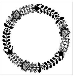 Finnish floral folk art round pattern - black desi vector