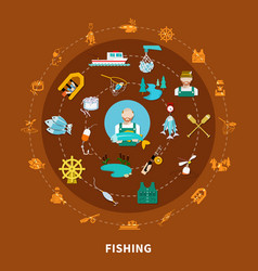 Fishing icons round composition vector