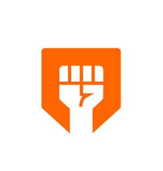 Fist and shield logo rebel or revolt symbol vector
