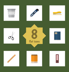 Flat icon tool set of notepaper trashcan vector