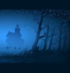 fog light trees mystical night stump background vector image