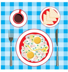 Fried eggs in a plate coffee and bread vector image