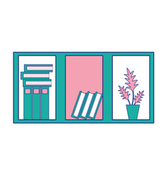 Full color office wood shelf with books and plant vector