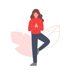 girl meditating to calm down stressful emotion vector image