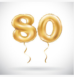 golden number 80 eighty balloon party decoration vector image