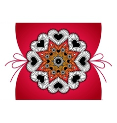 Greeting banner with round pendant from hearts vector