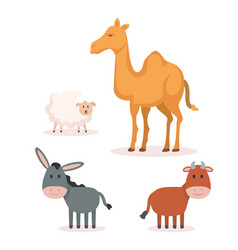 Group of animals manger characters vector