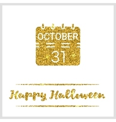 Halloween gold textured calendar icon vector image