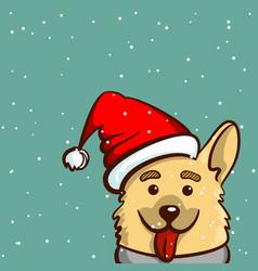 happy snowy dog vector image