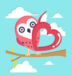 happy valentines day with owl in love background vector image
